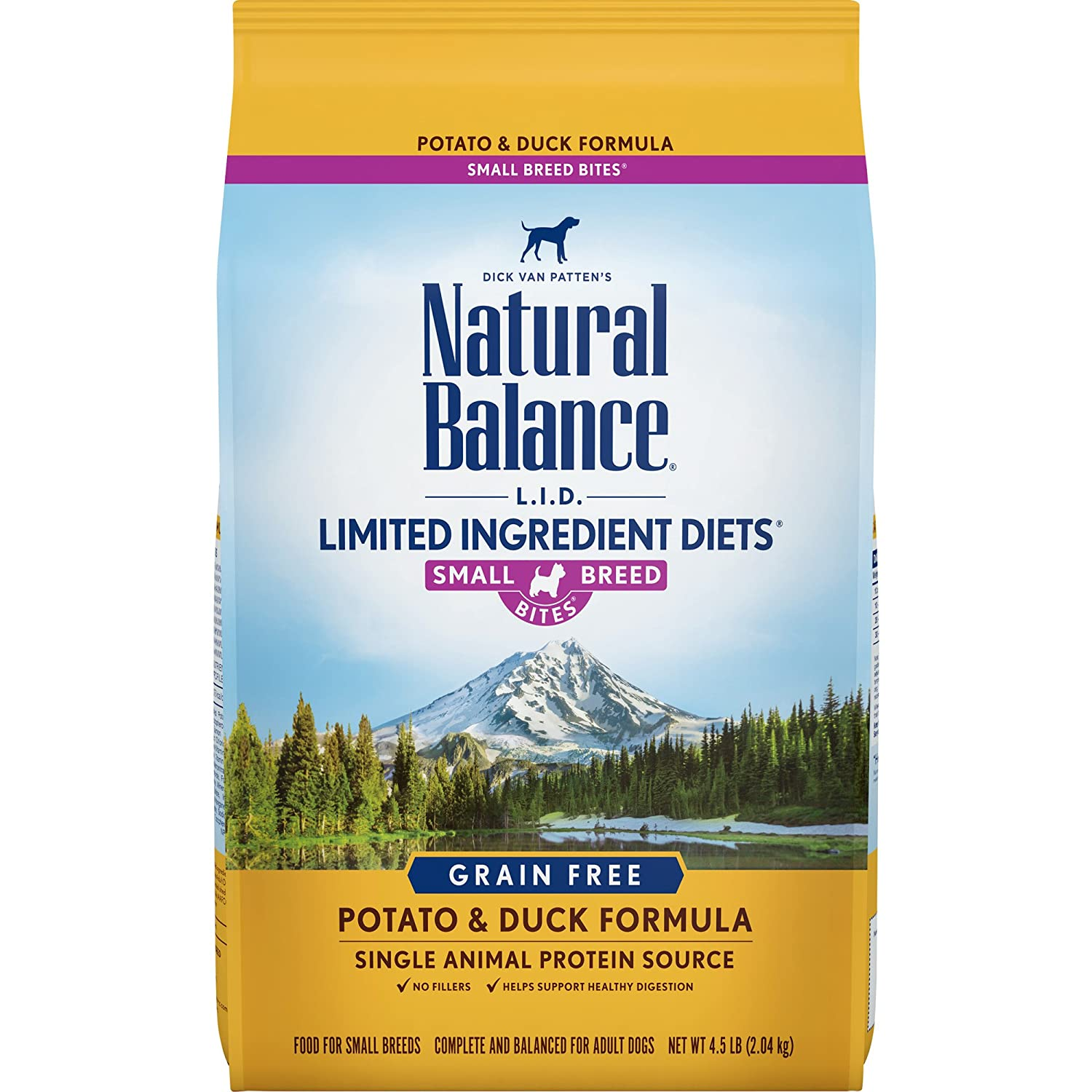 N A Natural Balance Small Breed Bites L.I.D. Limited Ingredient Diets Dry Dog Food, Grain Free, Potato & Duck Formula, 4.5-Pound