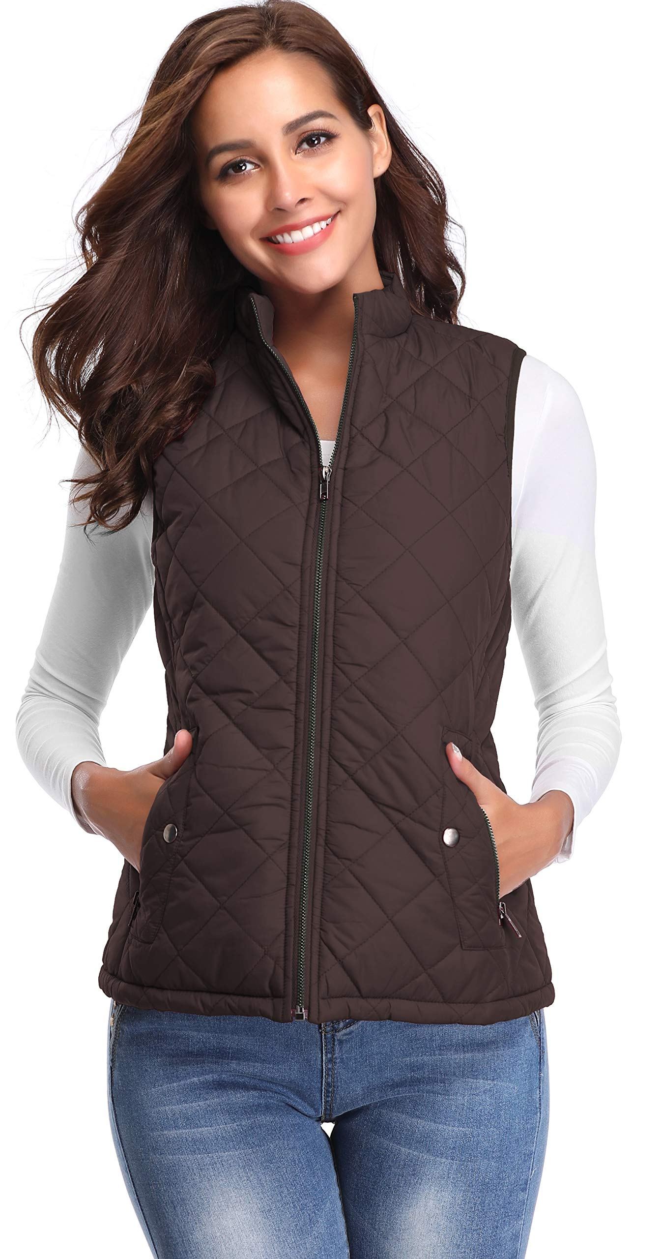 Argstar Women's Stand Collar Lightweight Padded Zip Vest Quilted Gilet