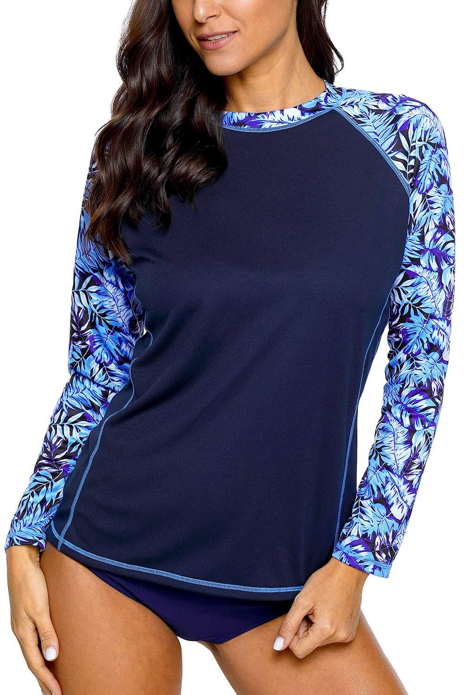 CharmLeaks Womens Rash Guard Long Sleeve Swim Shirts Print SPF Shirts Swim Top XL by CharmLeaks
