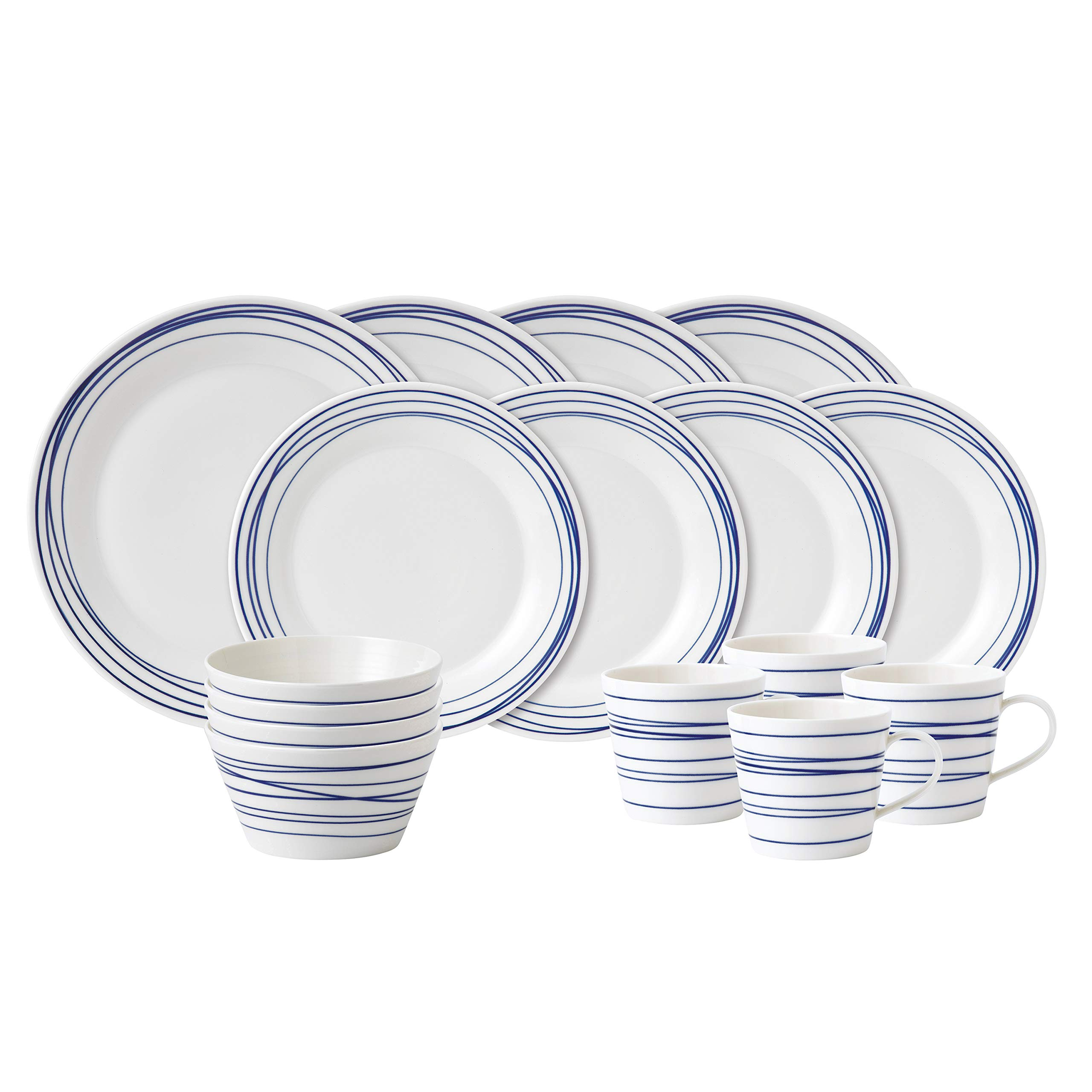 Royal Doulton 40021448 Pacific 16 Piece Set Lines Dinnerware Set, Multiple