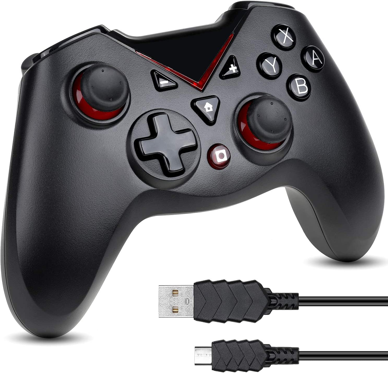Zacro Mando Controlador Inalámbrico Válido para Switch, Bluetooth Mando Joy Stick, Android,PC Negro