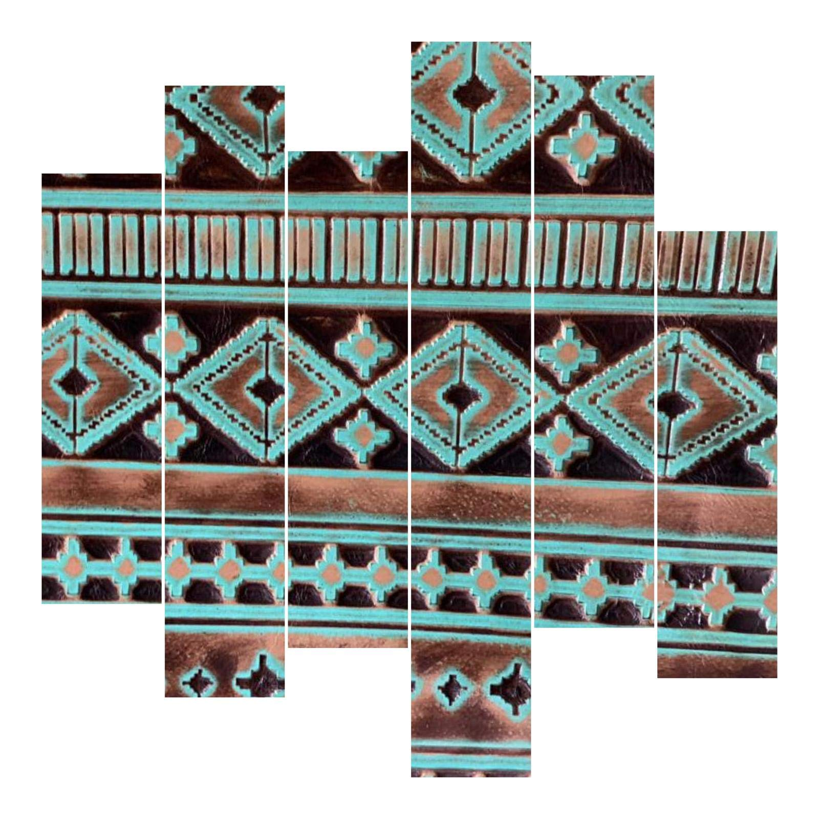 Embossed Leather Navajo Turquoise, Cut to Size, Leatherworking, Leather Sheets for Bags, Wallets, Earrings, Upholstery (30x30 inch)
