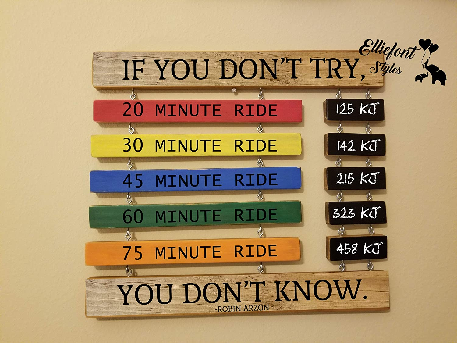 Calkboard LB Name Primary Colors Peloton Coach Quotes Wooden Sign Cycling Running Peloton PR Time Display Personal Record
