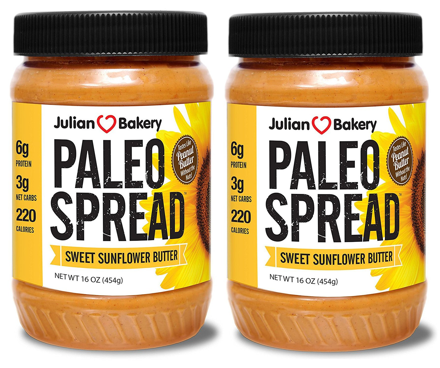 Paleo Spread (2 Pack) Sweet Organic Sunflower Butter (Nut Free) w/Monk Fruit (2 lbs)