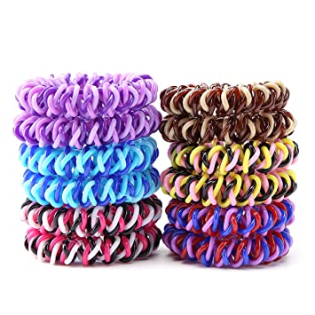 Amazon.com   Spiral hair band No Crease Elastic Ponytail Holders Phone Cord  Traceless Hair Ring Hair Rubber Bands Suitable for All Hair Types b7d6577650f
