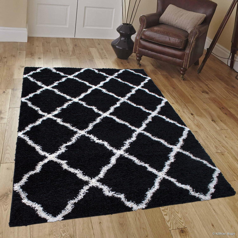 Amazon com allstar 8 x 10 black with white modern high pile posh shaggy trellised area rug 7 9 x 10 kitchen dining