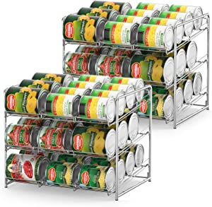Can Organizer Stackable 2 Pack Can Storage Dispenser Rack 3 Tier Holds up 36 Cans Rotates First in First Out for Kitchen Cabinet or Pantry, Chrome Finish