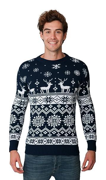 Mens Adults Christmas Jumper Xmas Novelty Knit Reindeer Nordic Navy XL 2XL 3XL