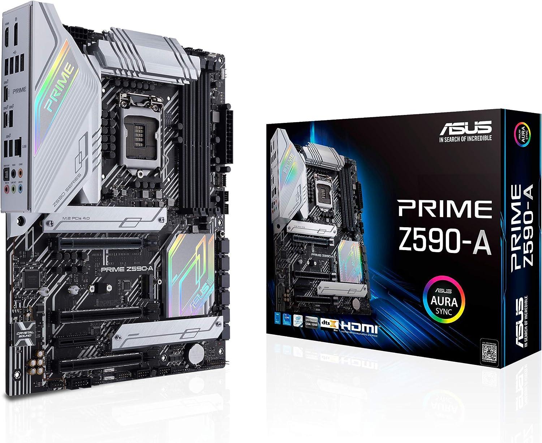 ASUS Prime Z590-A LGA 1200 (Intel11th/10th Gen) ATX Motherboard (14+2 DrMOS Power Stages,3X M.2, Intel 2.5 Gb LAN, USB 3.2 Front Panel Type-C, Thunderbolt 4, Aura Sync RGB Lighting)