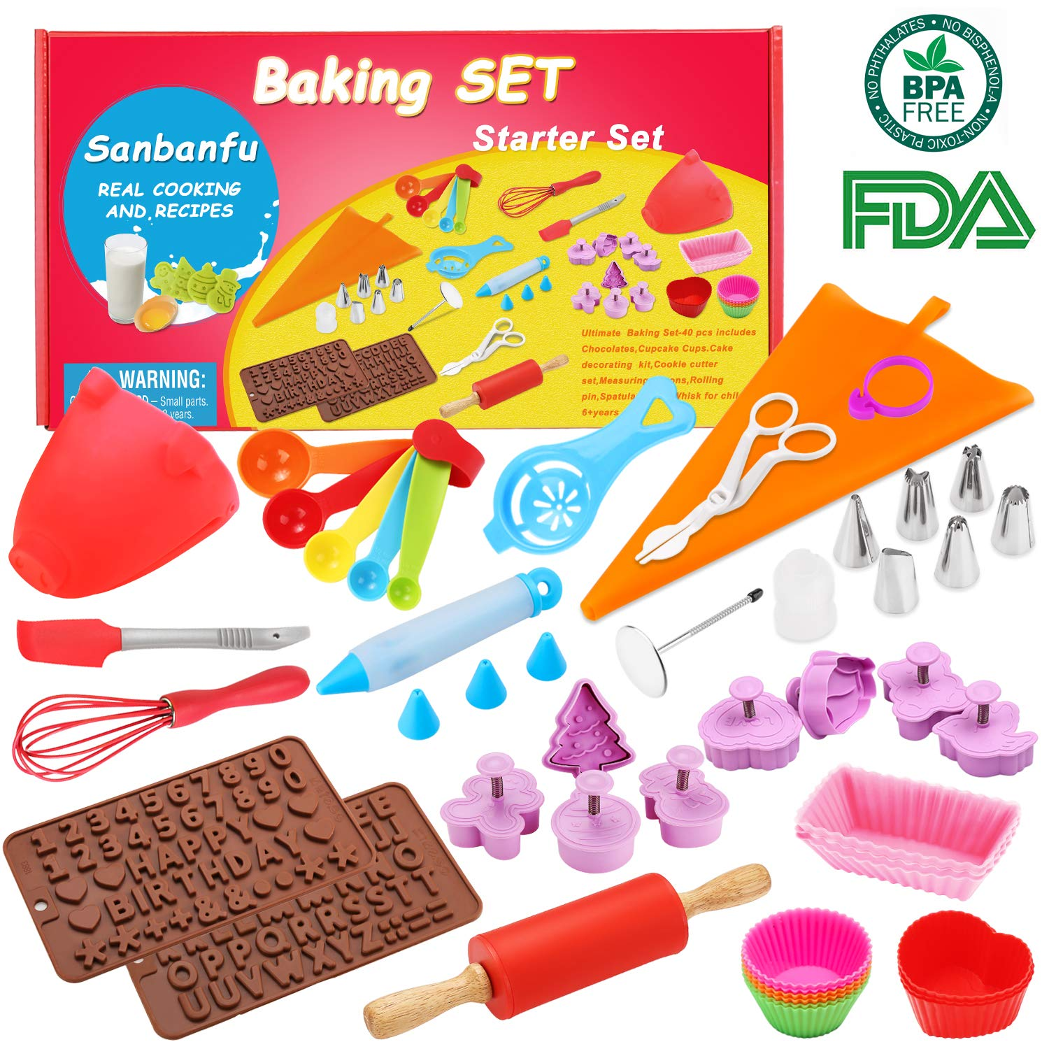 Kids Cooking Baking set Baking supplies Cupcake decorating kit-40 pcs include Silicone Chocolate Moulds,Cupcake cups,Cake decorating kit,Cookie Cutters,Measuring Spoons,Rolling Pin,Spatula,Whisk   B0753GDK3R