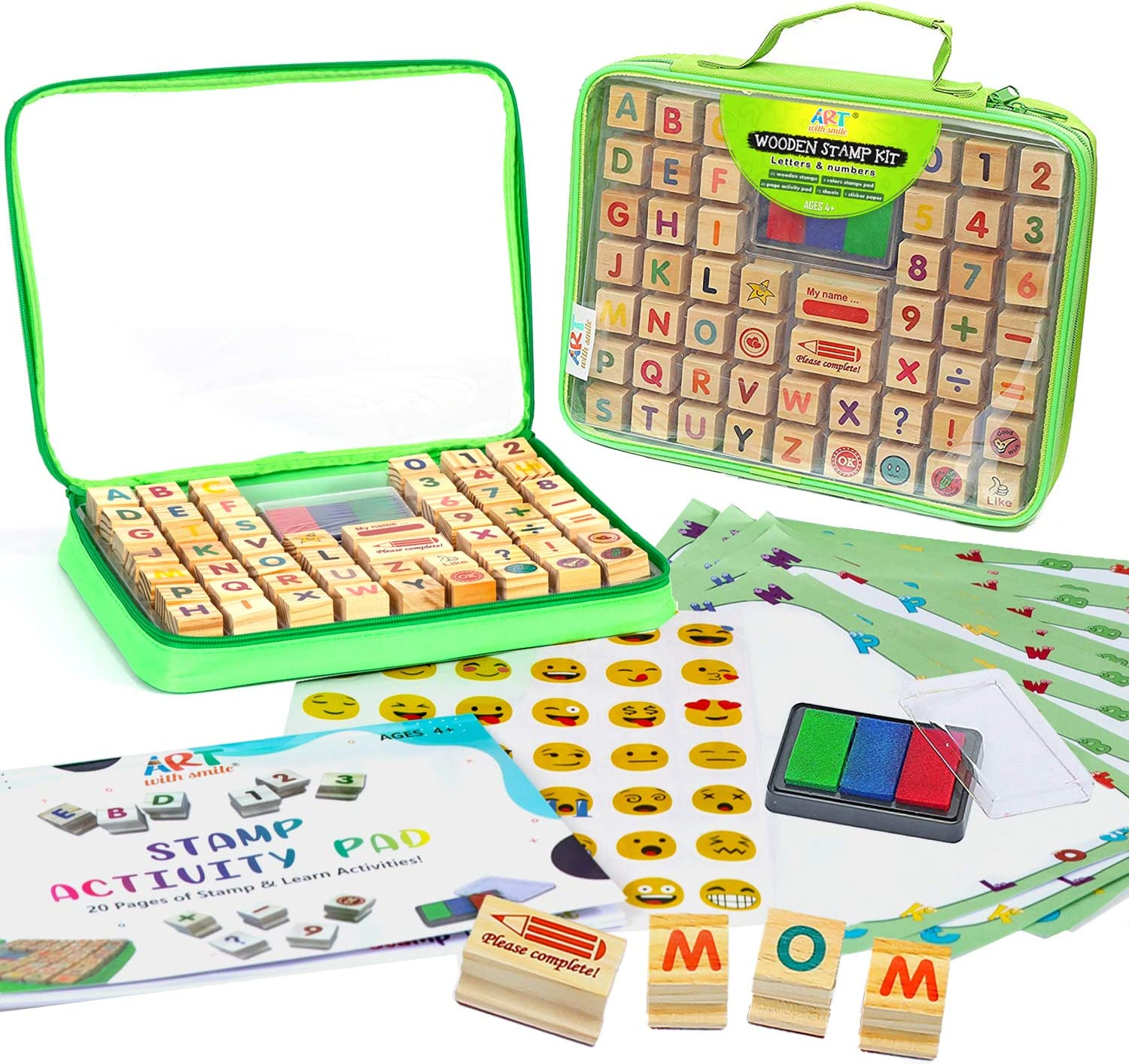 Wooden Stamp Set for Kids and Teachers with Alphabet Stamps and Carry Case 69Pcs – Letters, Numbers, Emojis, 3-Color Washable Ink Pad, Activity Book, More – ABC 123 Stamps Excellent Gift for Kid