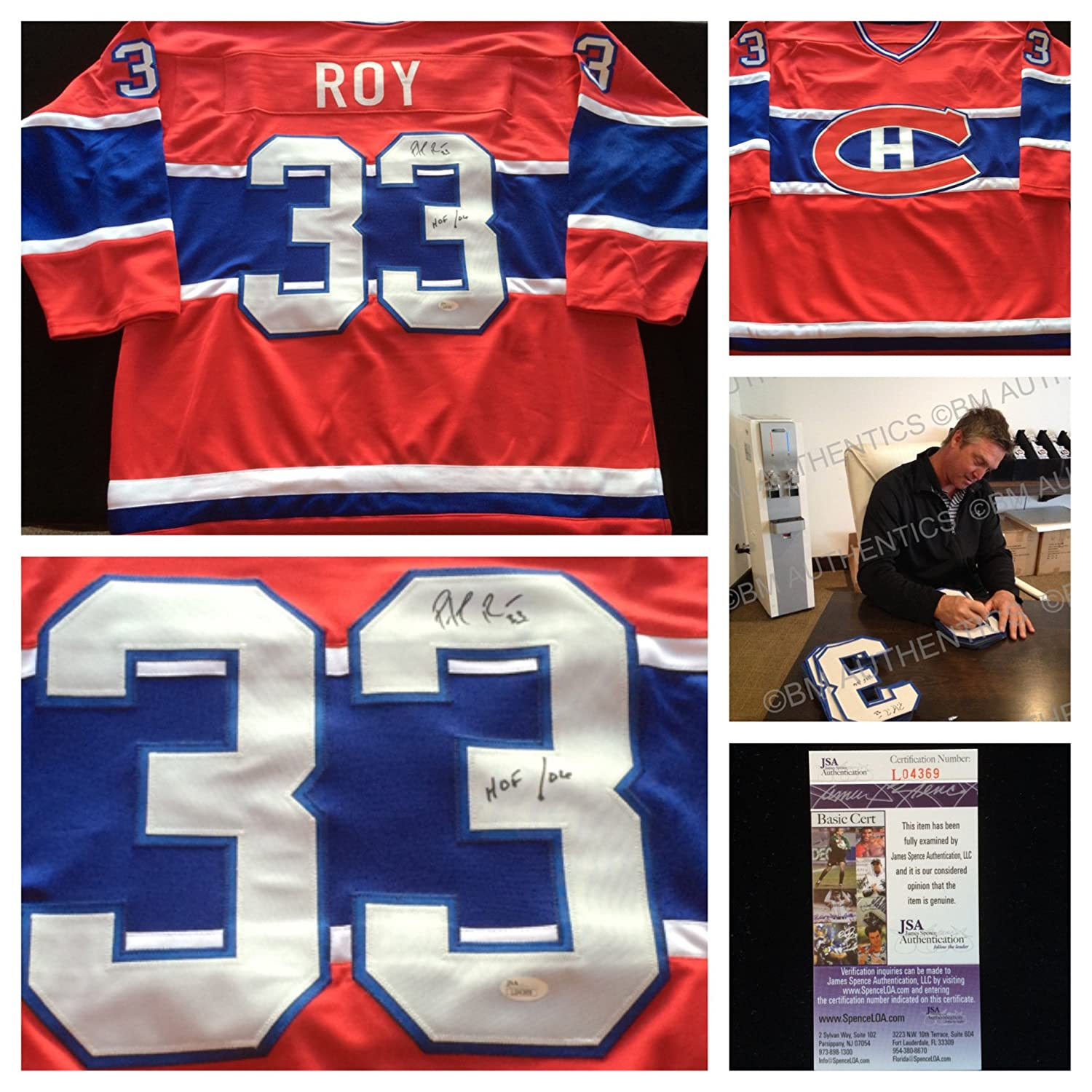 ... Patrick Roy Montreal Canadiens Signed Autograph Red Jersey 33. JSA  L04369 at Amazons Sports Collectibles ... 3cc8df892