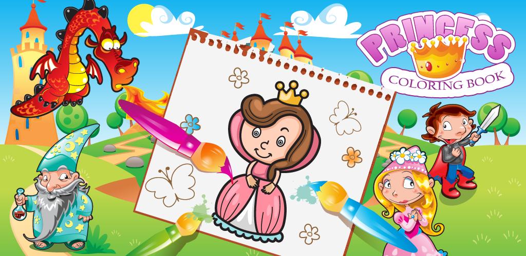 Princesa libro para colorear para los niños, juego de
