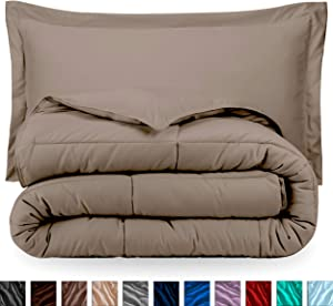Bare Home Comforter Set - Full/Queen - Goose Down Alternative - Ultra-Soft - Premium 1800 Series - Hypoallergenic - All Season Breathable Warmth (Full/Queen, Taupe)