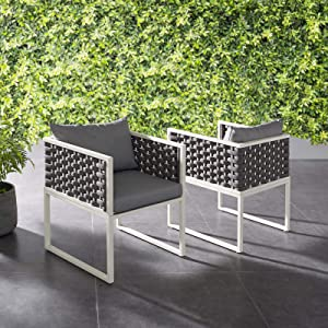 Modway EEI-3183-WHI-GRY-SET Stance Outdoor Patio Aluminum Dining Armchair, Set of 2, White Gray