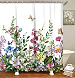 """LIVILAN Fabric Floral Shower Curtain Set with 12 Hooks Decorative Bath Curtain Modern Bathroom Accessories, Machine Washable, Colorful Flowers and Green Leaves Pattern, 72"""" X 72"""""""