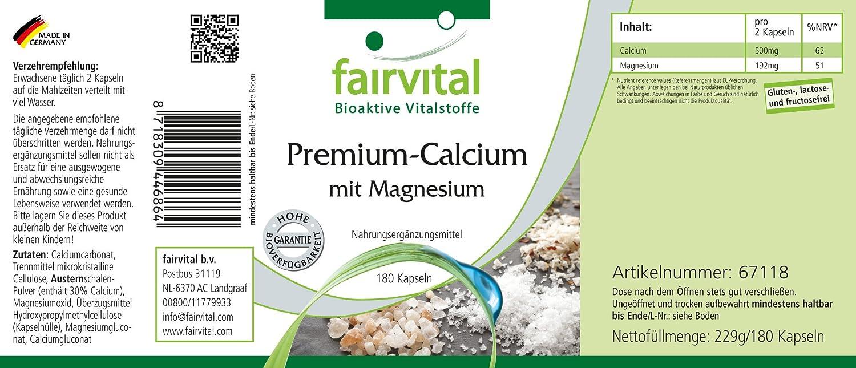 calcio Premium con magnesio - GRANEL durante 3 meses - ALTA DOSIS - 180 cápsulas - con polvo de concha de ostra: Amazon.es: Salud y cuidado personal