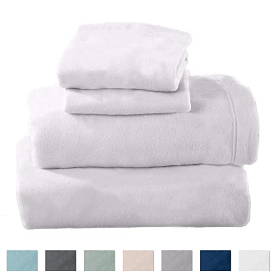Maya Collection Super Soft Extra Plush Fleece Sheet Set. Cozy, Warm, Durable, Smooth, Breathable Winter Sheets in Solid Colors (Twin, Winter White) best twin-size fleece sheets