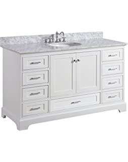 Harper 60 Inch Single Bathroom Vanity (Carrara/White): Includes Authentic  Italian