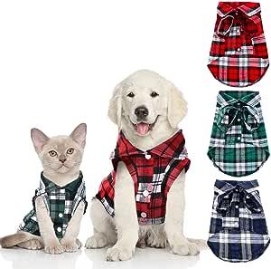 3 Piezas Camisas de Mascotas Camisa de Ropa a Cuadros para Perros