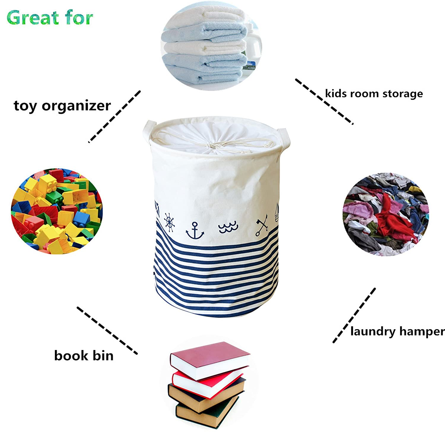 Anchor LEELI Clothes Hamper with Lid,Cotton Canvas Laundry Hamper with Handles-Toy Basket Organizer Kids Storage Bins for Clothes