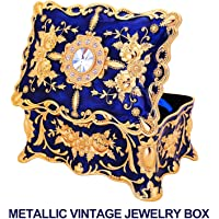 Metallic Vintage Jewellery Box with Ornate Antique Finish; Rectangular Jewellery Organizer Storage Box for Women, Girls