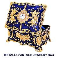 Metallic Vintage Jewellery Box with Ornate Antique Finish; Rectangular Jewellery Organizer Storage Box for Women, Girls
