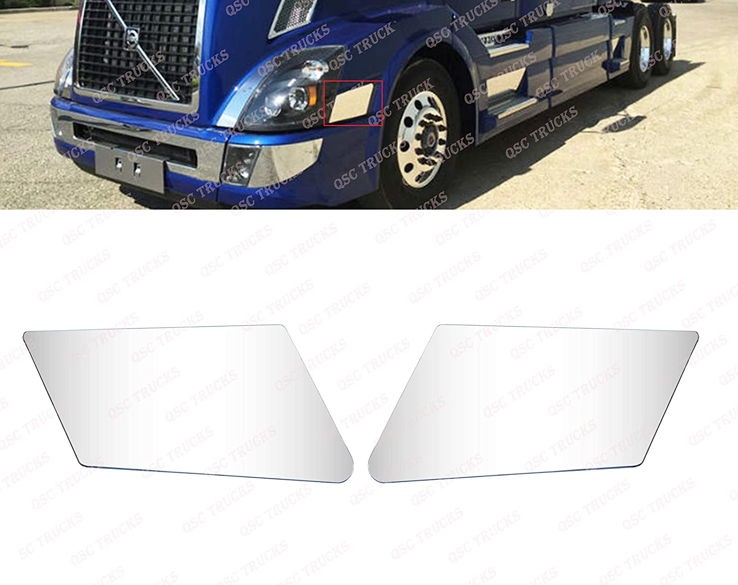 QSC Bumper Extension Corners Chrome Trim Set LH RH for Volvo VNL VN Trucks