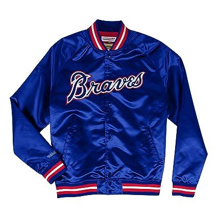 5eea6d37408 Amazon.com   Mitchell   Ness Atlanta Braves MLB Men s Big Time Lightweight  Satin Jacket   Sports   Outdoors