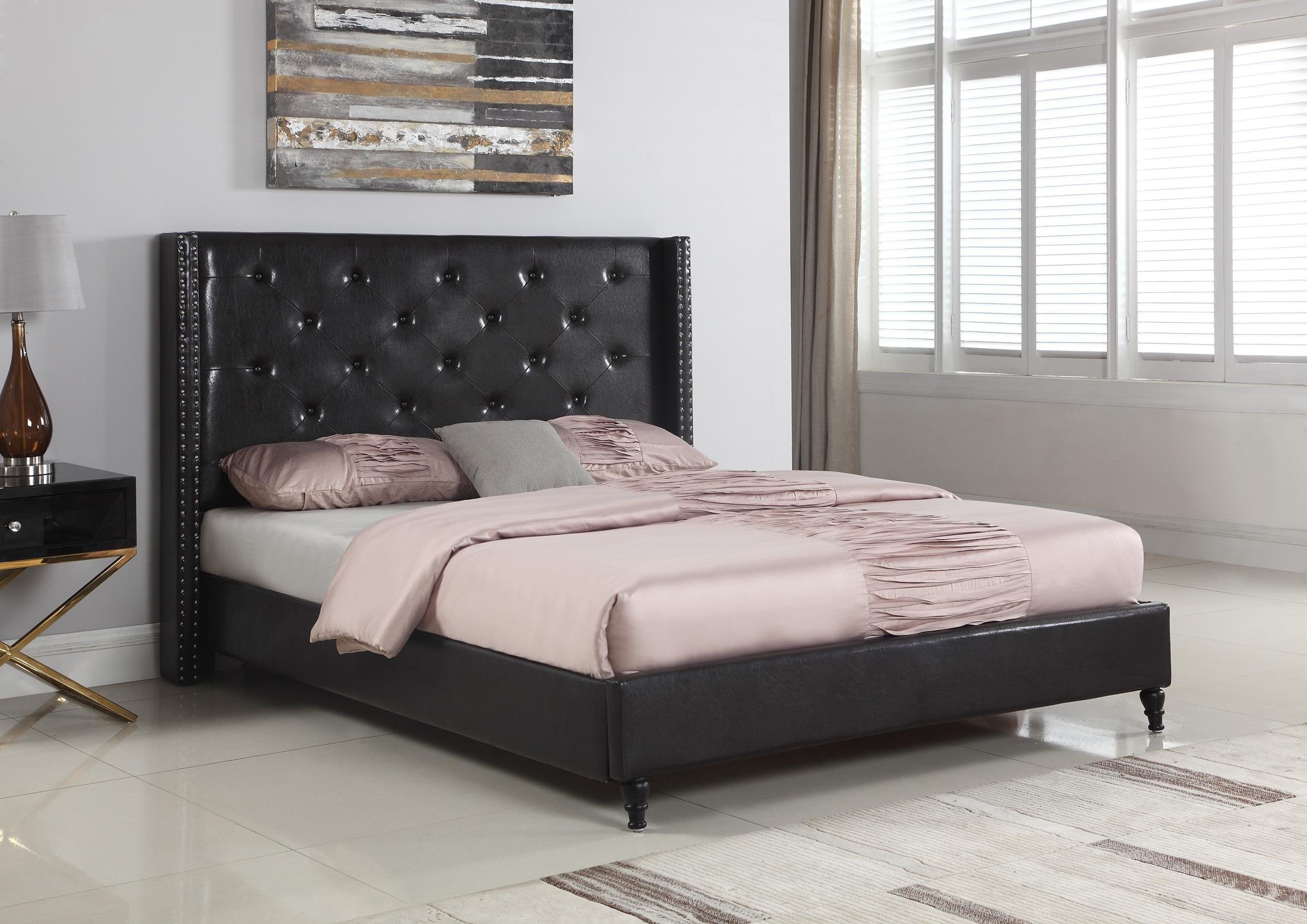 Home Life Premiere Classics Leather Black Tufted with Nails Leather 51'' Tall Headboard Platform Bed with Slats Full - Complete Bed 5 Year Warranty Included 007