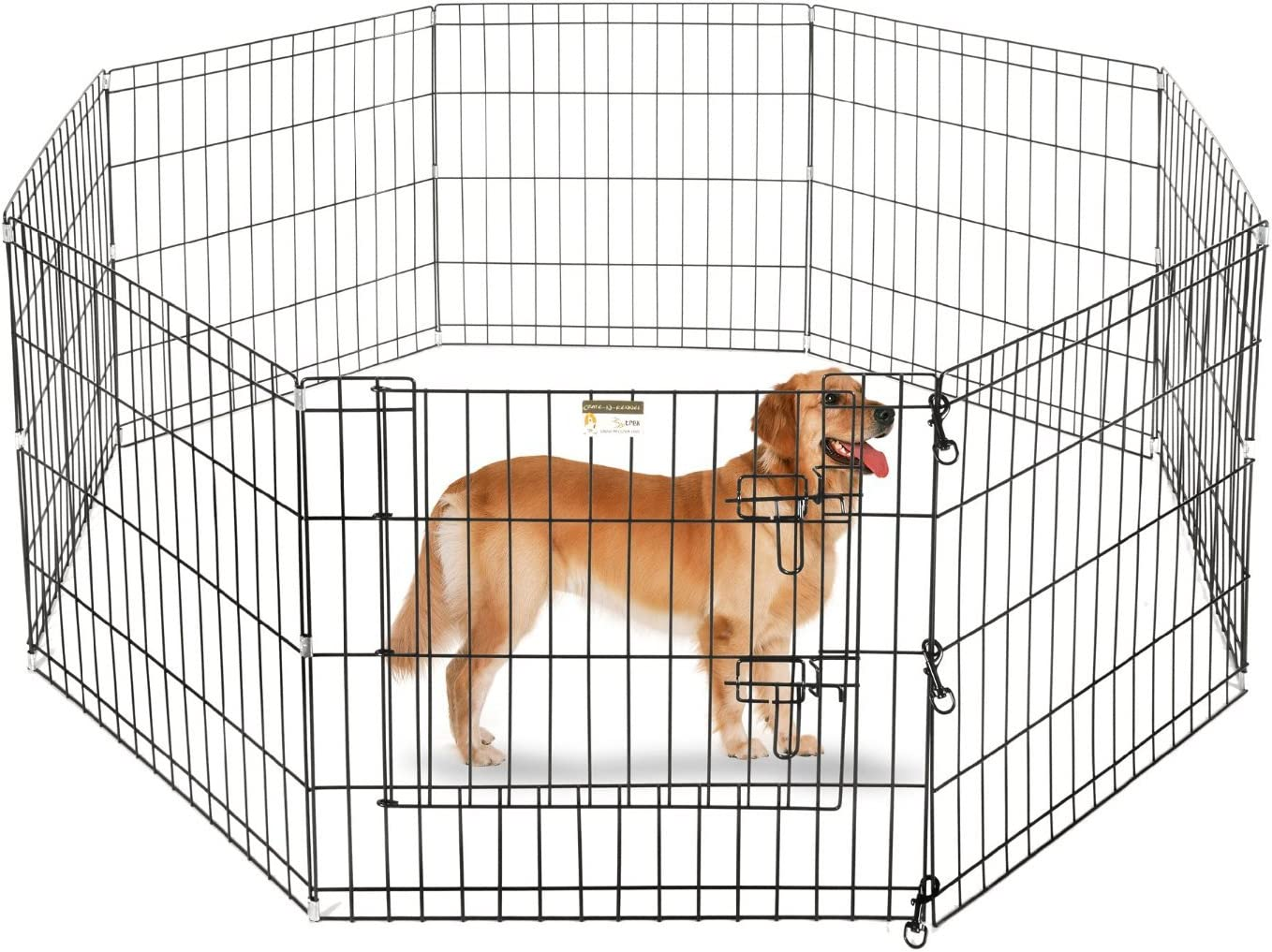 ALEKO SDK-36B Heavy Duty Pet Playpen Dog Kennel Pen Exercise Cage Fence 8 Panel 24 x 36 Inches Black
