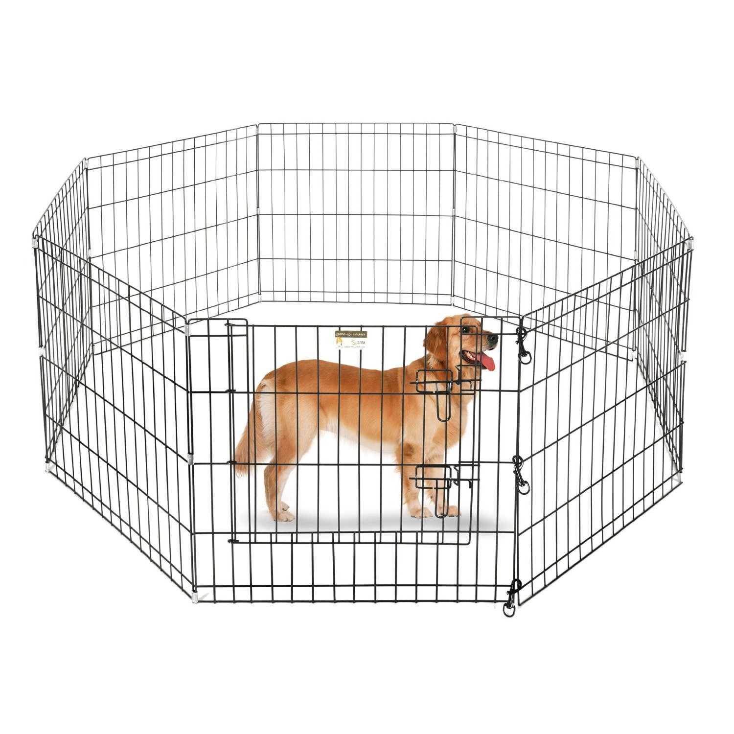 ALEKO SDK-48B Heavy Duty Pet Playpen Dog Kennel Pen Exercise Cage Fence 8 Panel 48 x 24 Inches Black