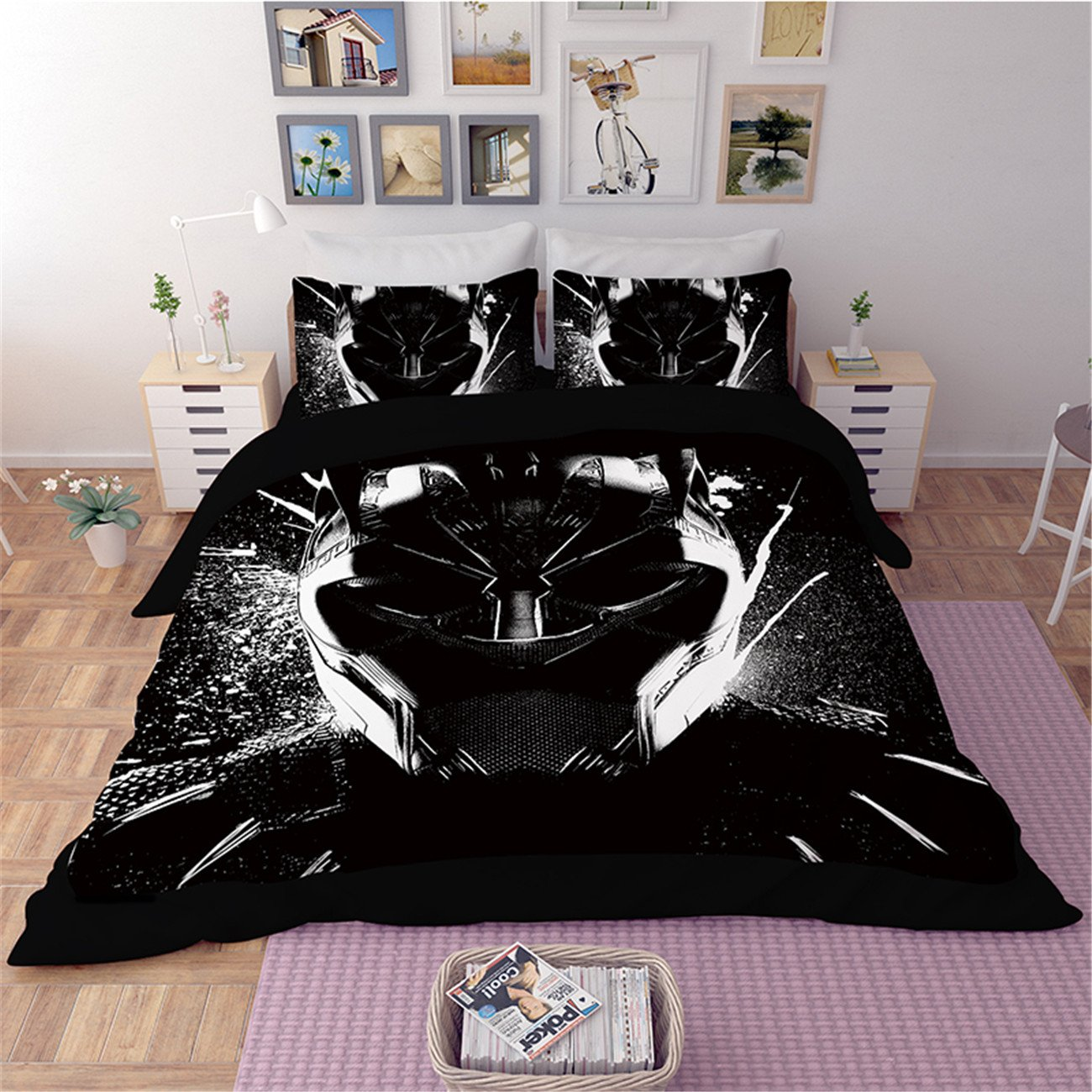 NOOS 3D Black Panther Duvet cover Set New Cartoon kids bedding set 3PC Soft 100% microfiber Childrens Marvel Cat Superhero Themed Action Movie Bed Set Twin Full Queen King Size