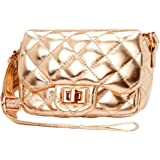 Claire's Club Crossbody Bag, Metallic Quilted, Rose Gold, Flap Closure with Twist Clasp, Adjustable Strap