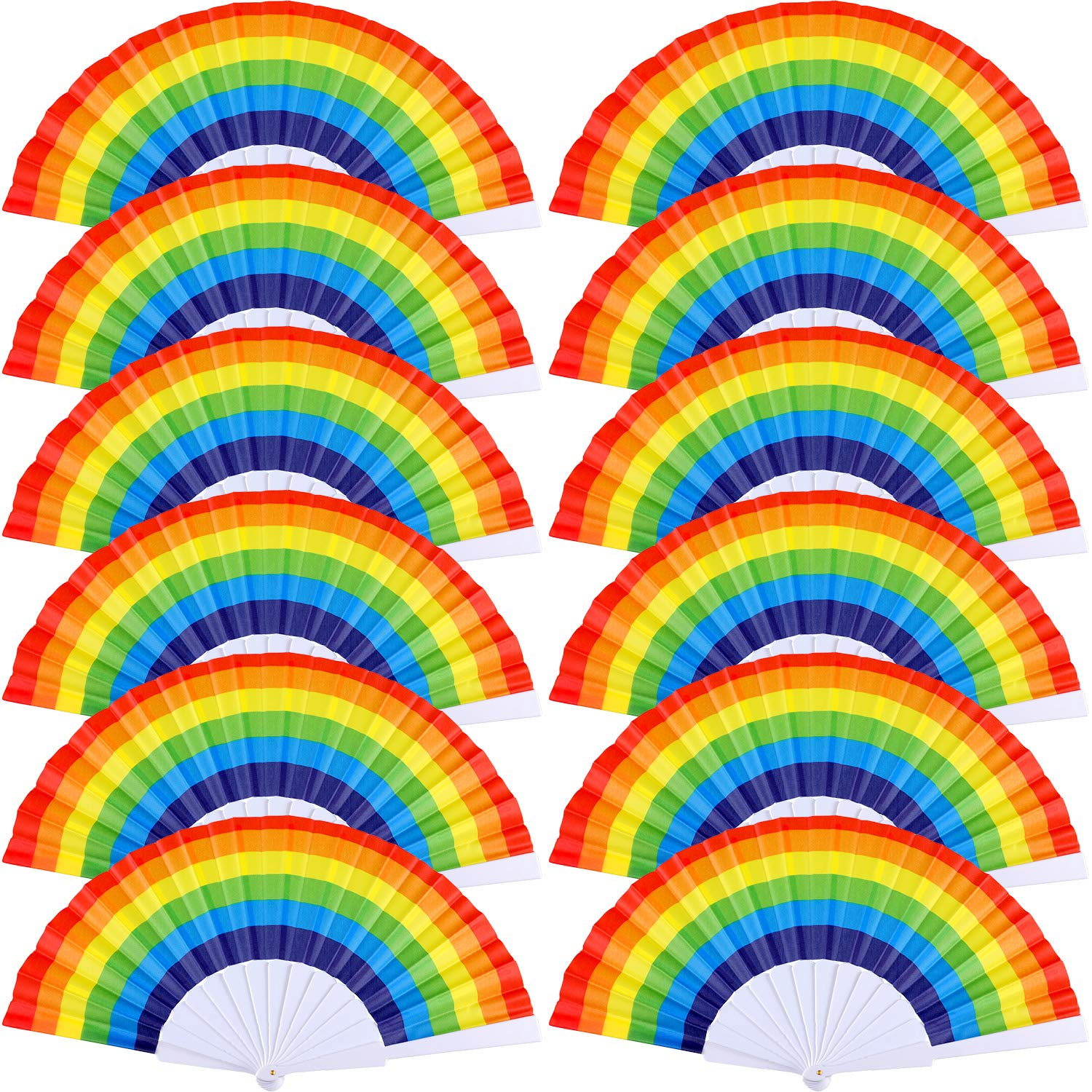 Yaomiao 12 Pieces Rainbow Fans Rainbow Folding Fans Colorful Hand Held Fan Summer Accessory for Rainbow Party Decoration (Horizontal Stripes)