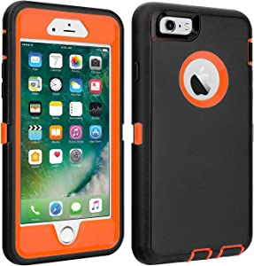 """iPhone 6/6S Case Shockproof High Impact Tough Rubber Rugged Hybrid Case Silicone Triple Protective Anti-Shock Shatter-Resistant Mobile Phone Case for iPhone 6/6S 4.7""""(Black-Orange)"""