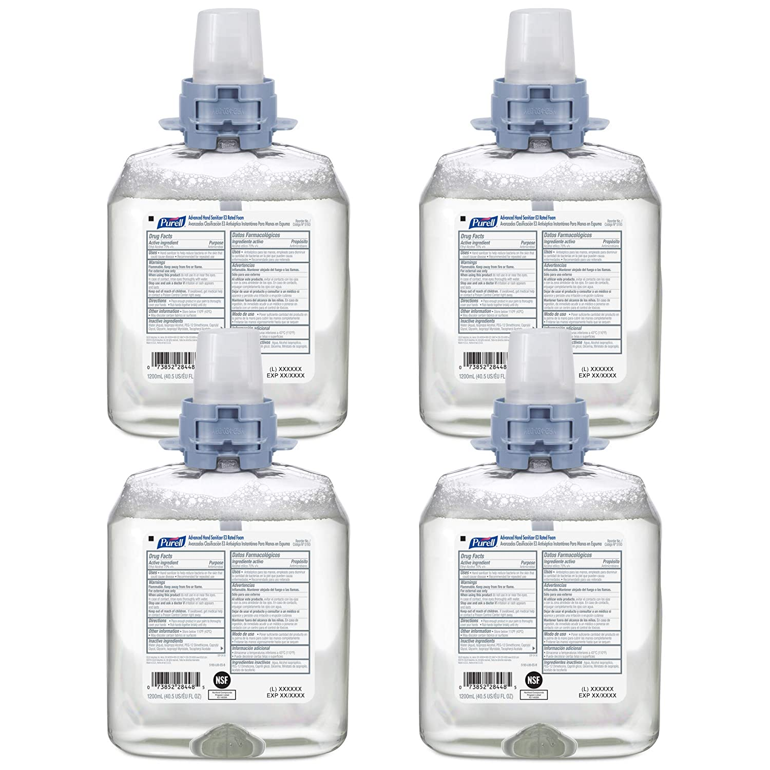 PURELL Advanced Hand Sanitizer E3 Rated Foam, Fragrance Free, 1200 mL Foam Hand Sanitizer Refill for PURELL FMX-12 Push-Style Dispenser (Pack of 4) – 5193-04