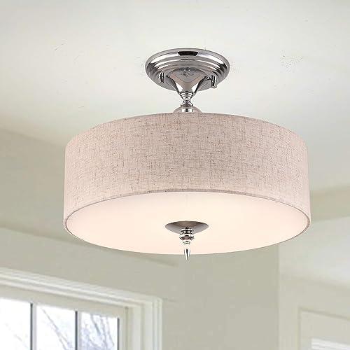 PAPAYA Semi Flush Mount Lighting Fixture Yellow Linen Drum Pendant Lamp Close to Ceiling Light