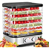 Food Dehydrator Machine, 8-Tray Fruit Dehydrators with Temperature Control(95ºF-158ºF) Knob Button for Jerky/Meat/Beef/Fruit/