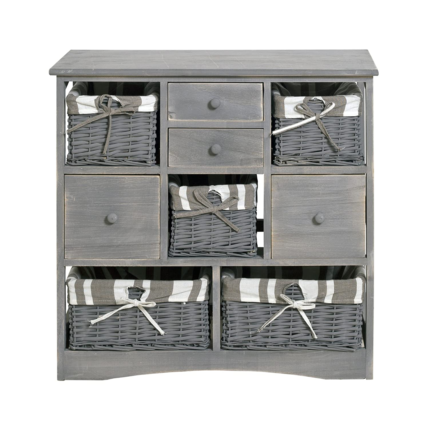Rebecca srl Sideboard Chest of Drawers 4 Drawers 4 Basket Wicker Fabric Wood Grey Vintage Style Kitchen Dining Room (cod. 0-1665)