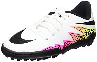 550122f1e82e Nike Kids Hypervenom Phelon Turf White Black Total Orange Shoes - 1Y
