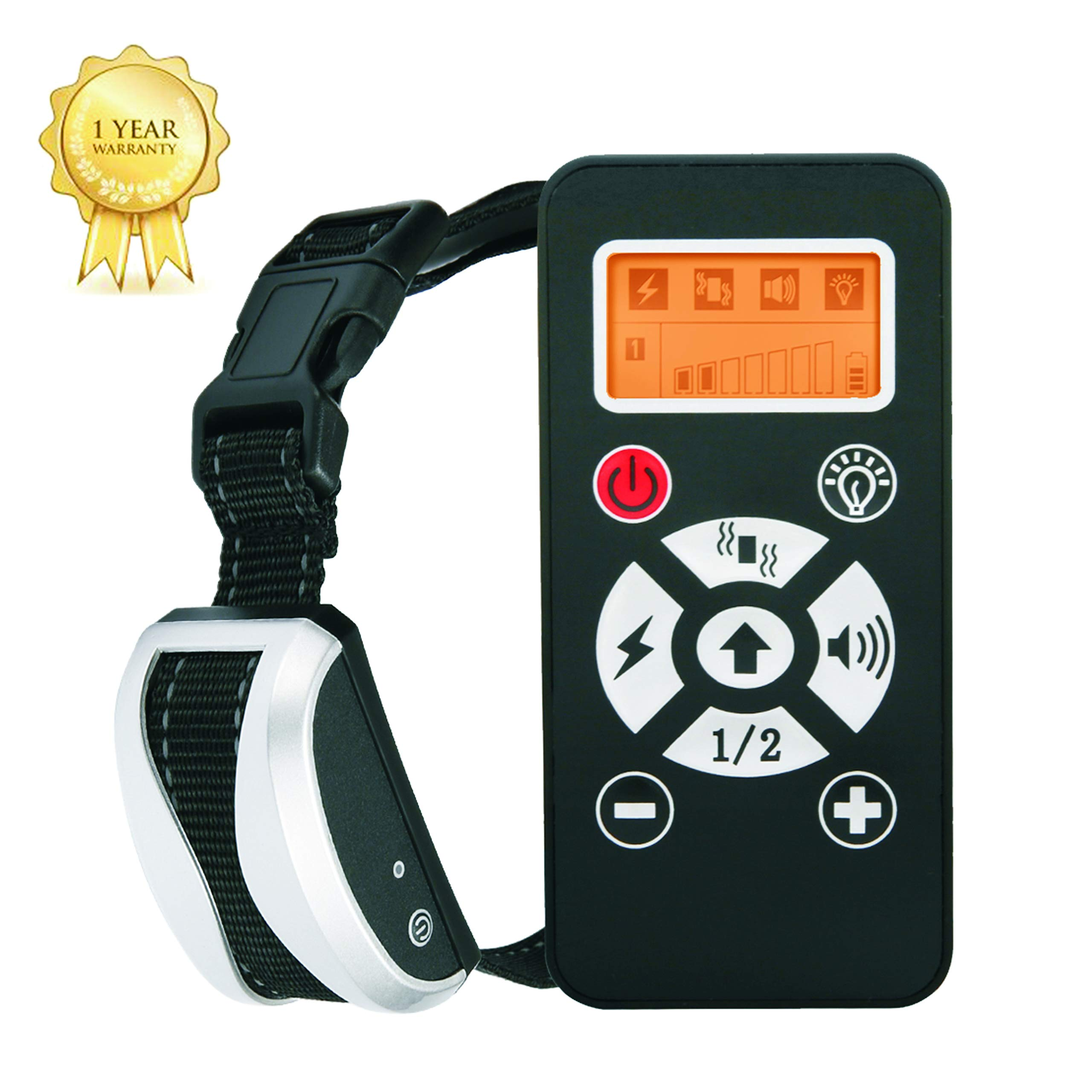 Dog Training Collar With Remote,Bark Collar Rechargeable and Waterproof Dog Shock Collar With Remote Adjustable Vibration and Shock,Electric Dog Collar for Small, Medium and Large Dogs 1 Year Warranty