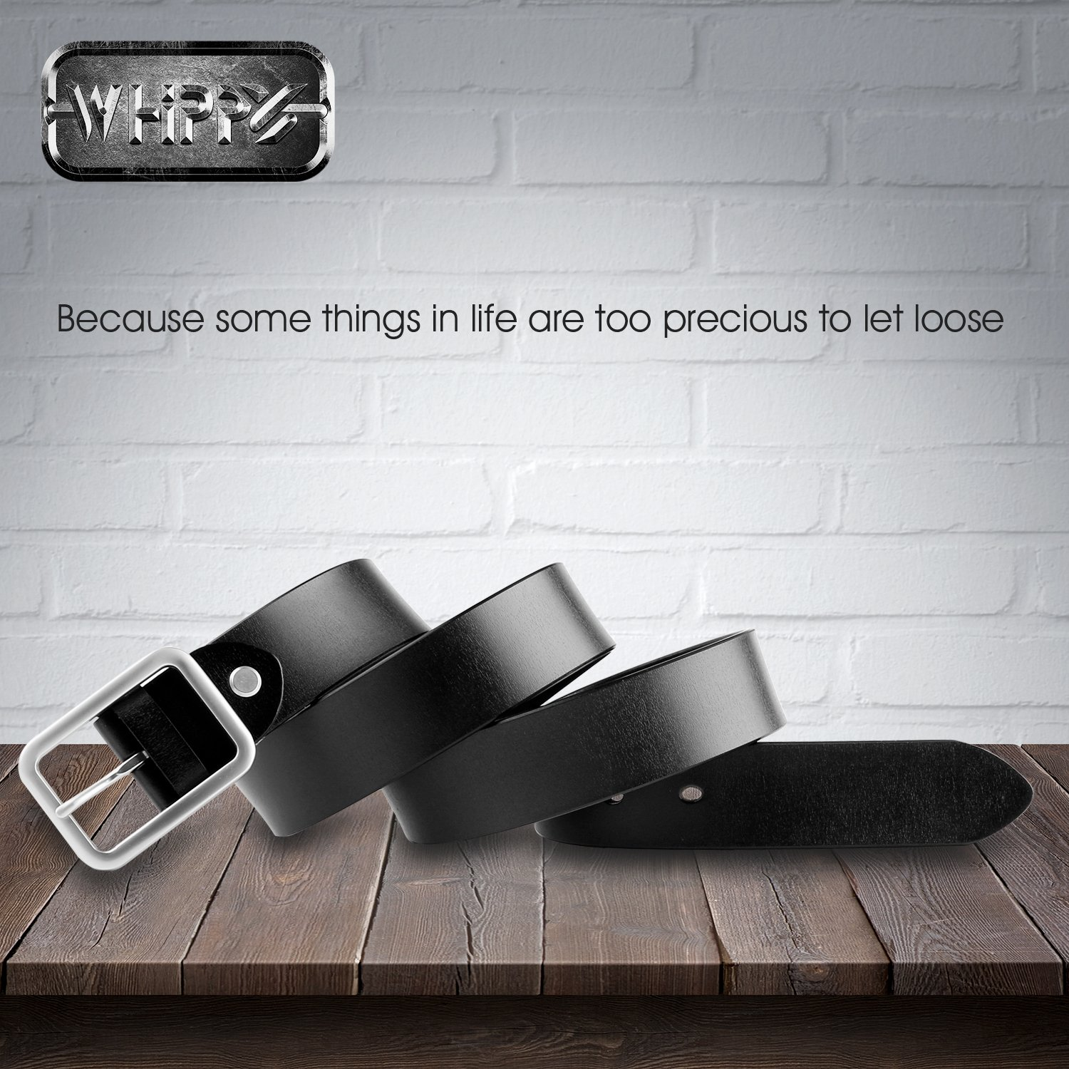 WHIPPY New Arrival Jeans Belt for Women Genuine Leather Belt with Pin Buckle, Black, 1.3''wide, Suit Pant Size 25''-29'' by Whippy (Image #3)