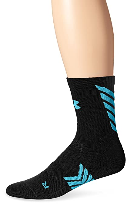 1b90f71fd Under Armour Men's Undeniable Mid Crew Socks, Black/Island Blue, Medium