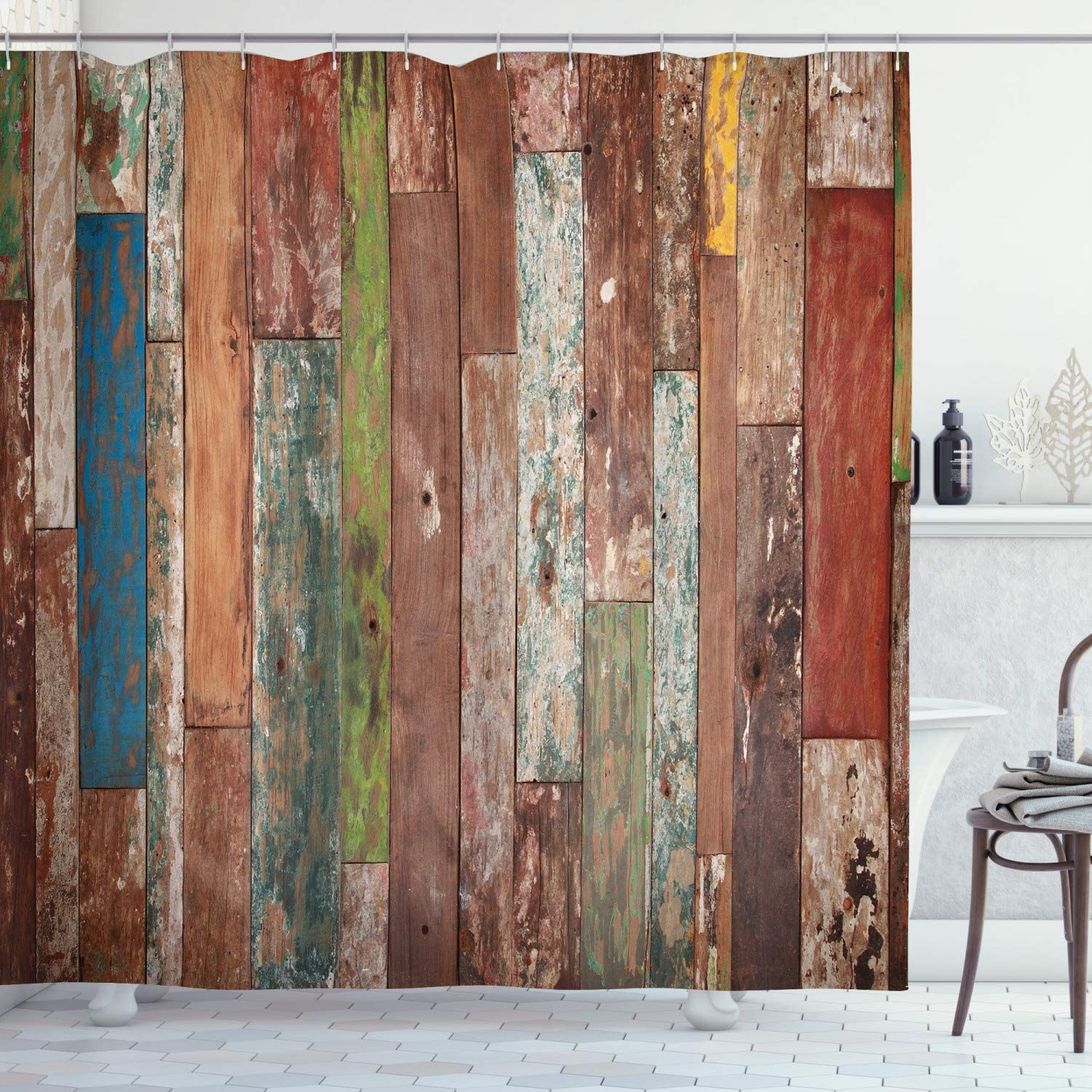 "Ambesonne Rustic Shower Curtain, Grunge Style Planks Print Weathered Old Look Vintage Illustration Architecture Theme, Cloth Fabric Bathroom Decor Set with Hooks, 75"" Long, Brown Pastel"