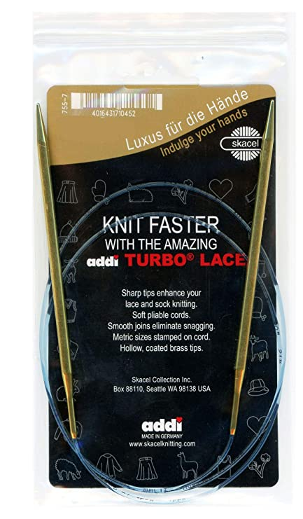 Gold Cord Smooth White Brass Tips Addi Circular Knitting Needle 150cm x 2.75mm