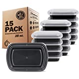 Freshware 28 oz Reusable Plastic Meal Prep Containers with Leak-Proof Lids, BPA Free - Microwave and Dishwasher Safe (15-Pack)