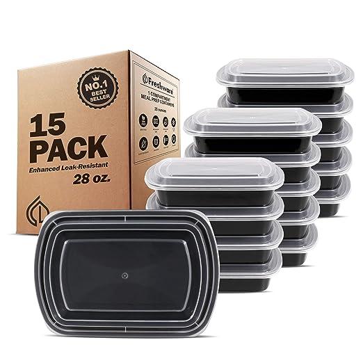 Freshware comida Prep recipientes [15 unidades] 1 compartimento ...