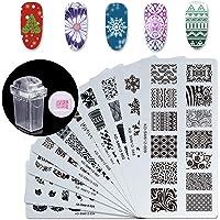 Makartt 12pcs Nail Art Stamp Stamping Templates Kit with 10pcs Plastic Manicure Plates 1 Stamper 1 Scraper for DIY & Salon Nail Art, S-01