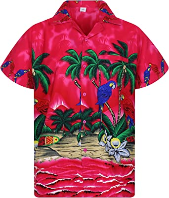 Funky Hawaiian Shirt Cherry Parrot Red Short Sleeve